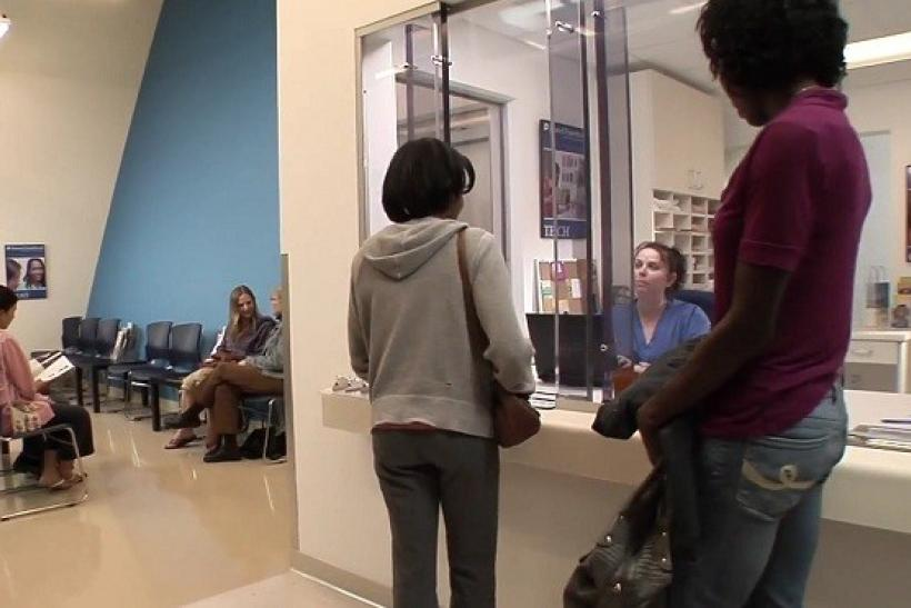 A video grab from a Planned Parent video on what happens during an in-clinic abortion shows patients arriving at a clinic.
