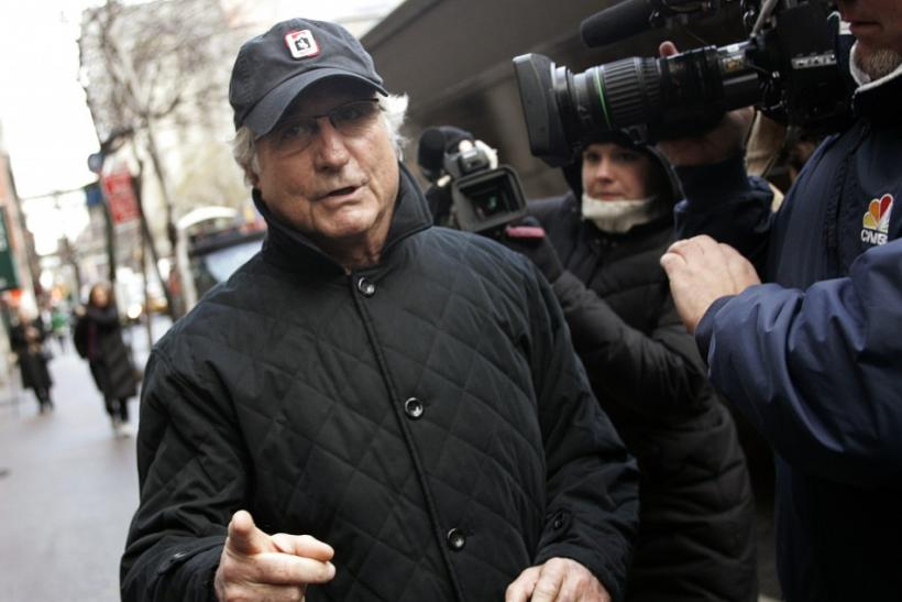 Bernie Madoff outside his penthouse home, bought with stolen money, in Manhattan in 2008.