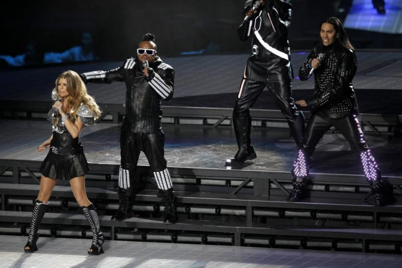 Fergie, apl.de.ap, will.i.am and Taboo of the Black Eyed Peas perform during half-time of the NFL's Super Bowl XLV football game in Arlington