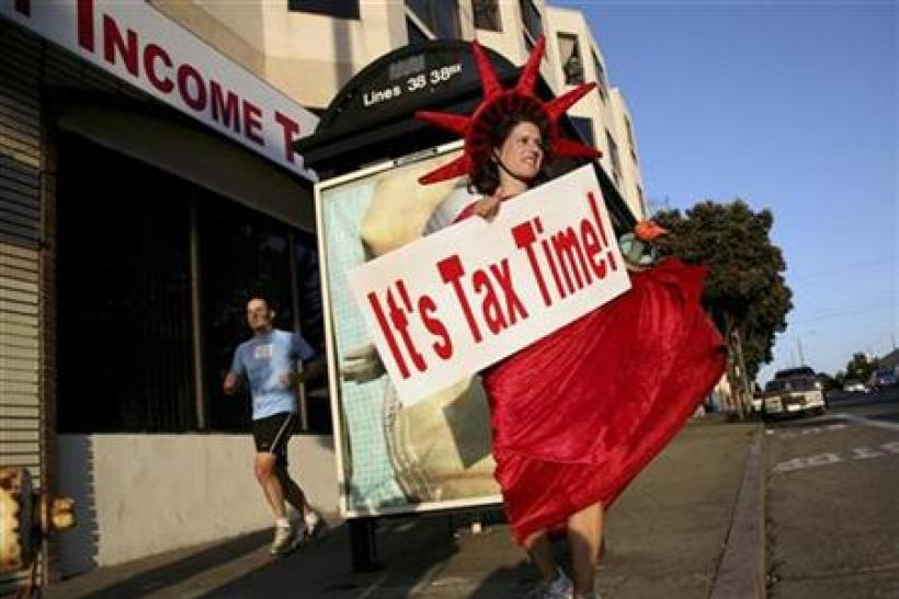 Denise Jameson wears costume to remind people of income tax filing in San Francisco