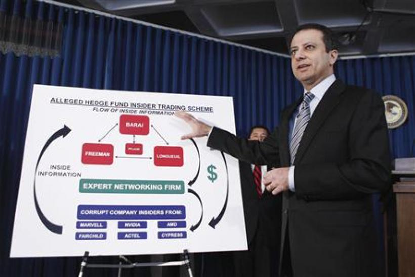 Bharara describes insider trading charges against three hedge fund portfolio managers and one hedge fund analyst during a news conference in New York