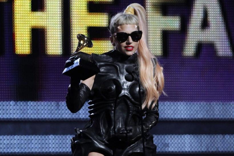 "Lady Gaga accepts her award for Best Pop Vocal Album for ""The Fame Monster"" at the 53rd annual Grammy Awards in Los Angeles"