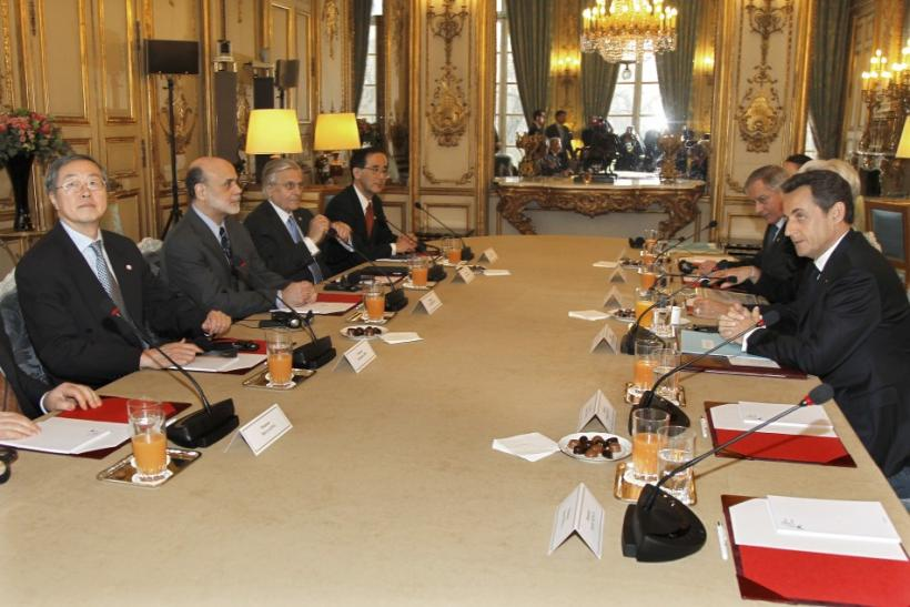 France?s President Nicolas Sarkozy meets central bank governors at the Elysee palace in Paris