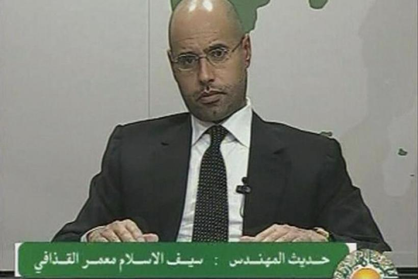 Saif al-Islam, son of Libyan leader Muammar Gaddafi, speaks during an address on state television in Tripoli, in this still image taken from video, February 20, 2011