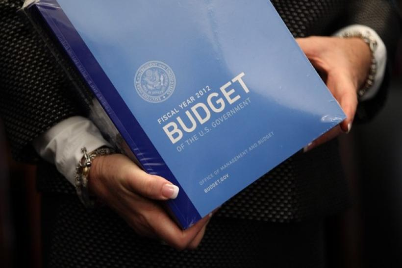 A copy of U.S. President Barack Obama's 2012 budget is unveiled on Capitol Hill in Washington, February 14, 2011. President Barack Obama proposed a budget on Monday that would cut the U.S. deficit by $1.1 trillion over 10 years, setting the stage for a bi
