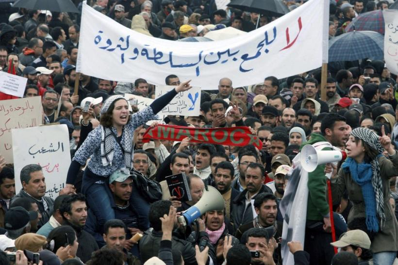 People chant slogans during a protest in Casablanca