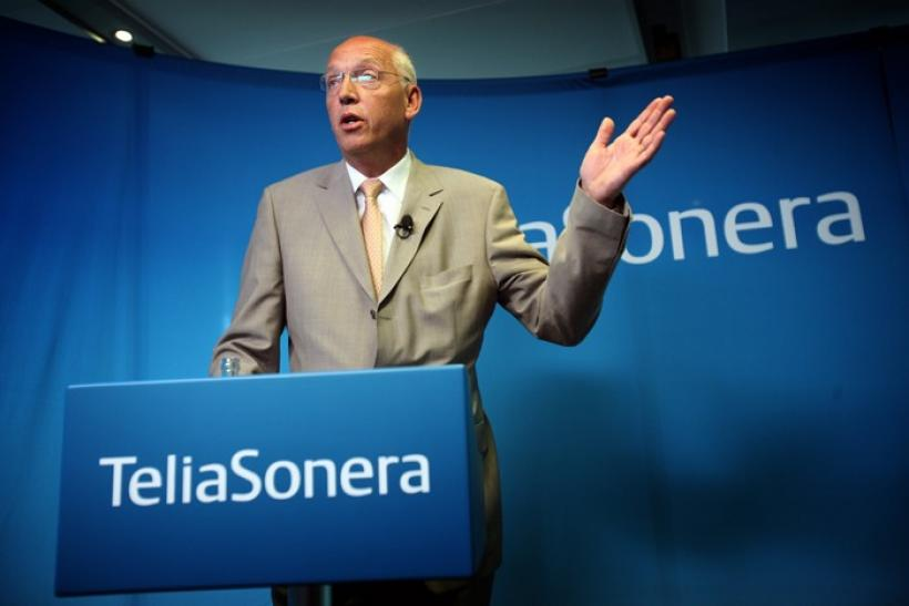 TeliaSonera's CEO Lars Nyberg gestures during a news conference in Stockholm