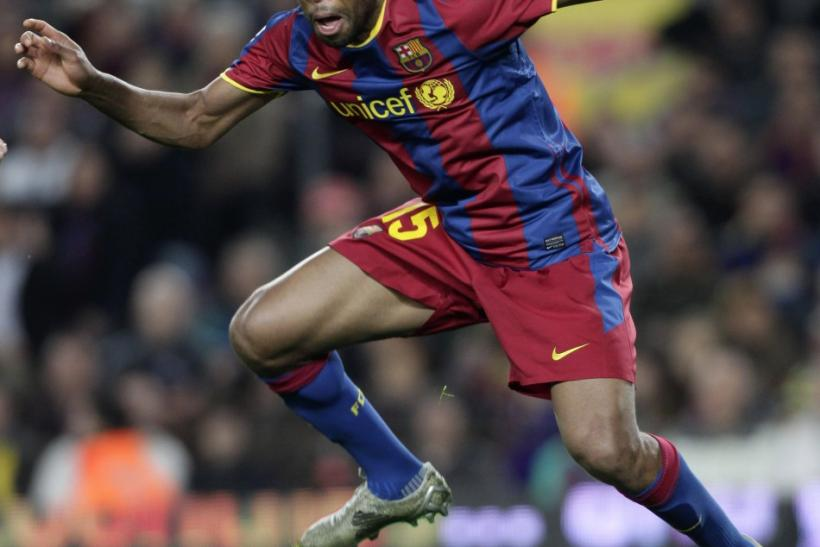 Barcelona's Keita heads the ball against Zaragoza during their Spanish First Division match at Nou Camp stadium in Barcelona.