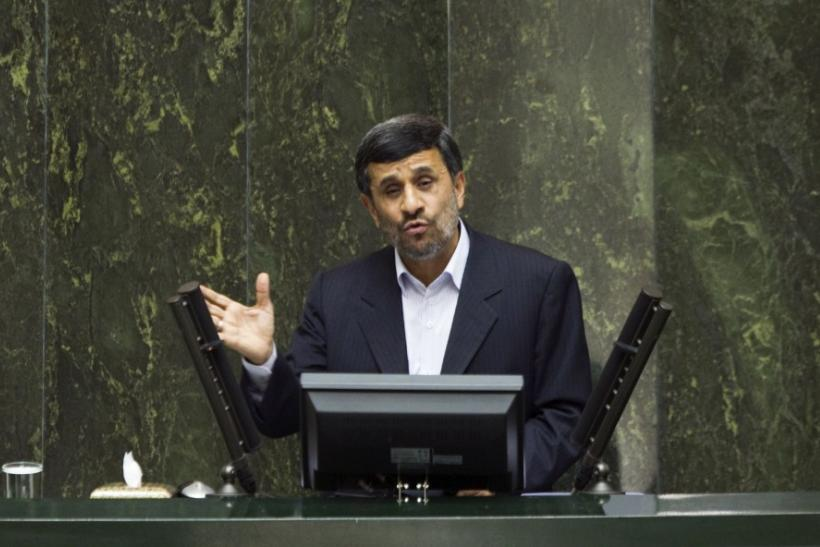 Iran's President Ahmadinejad speaks to lawmakers in parliament in Tehran
