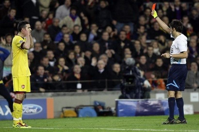 The red card of Robin van Persie led to Arsenal's demise at Camp Nou