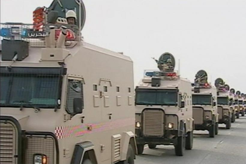 Saudi Arabian troops cross the causeway leading to Bahrain in this still image taken from video March 14, 2011.