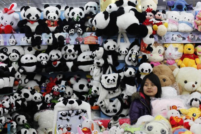 A store selling dozens of stuffed plush pandas in Beijing