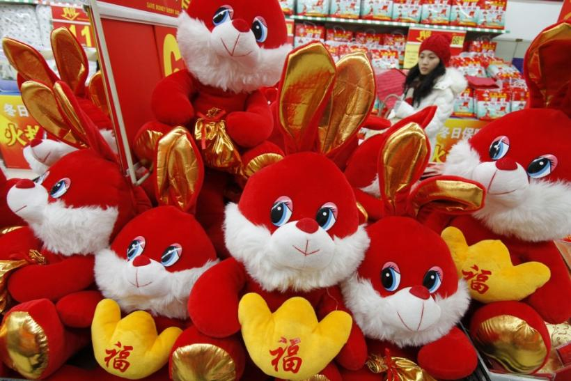 Red stuffed plush rabbits for sale in China on the Year of the Rabbit (2011)