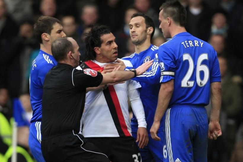 Chelsea's John Terry fronts up to Manchester City's Carlos Tevez after fouling him in London in 2010.