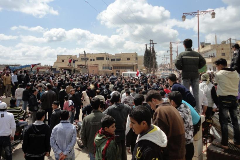 "Syrians shout ""freedom"" during a protest at Dael region, near the city of Deraa, southern Syria"
