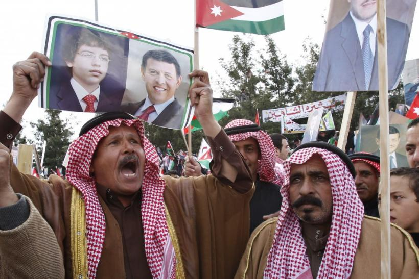 Supporters of Jordan's King Abdullah take part in a demonstration in support of the King in Amman