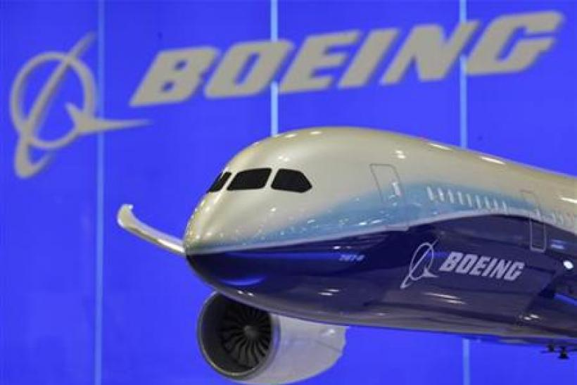 A model of Boeing 787-8 passenger plane is displayed inside its booth at the Asian Aerospace Show in Hong Kong