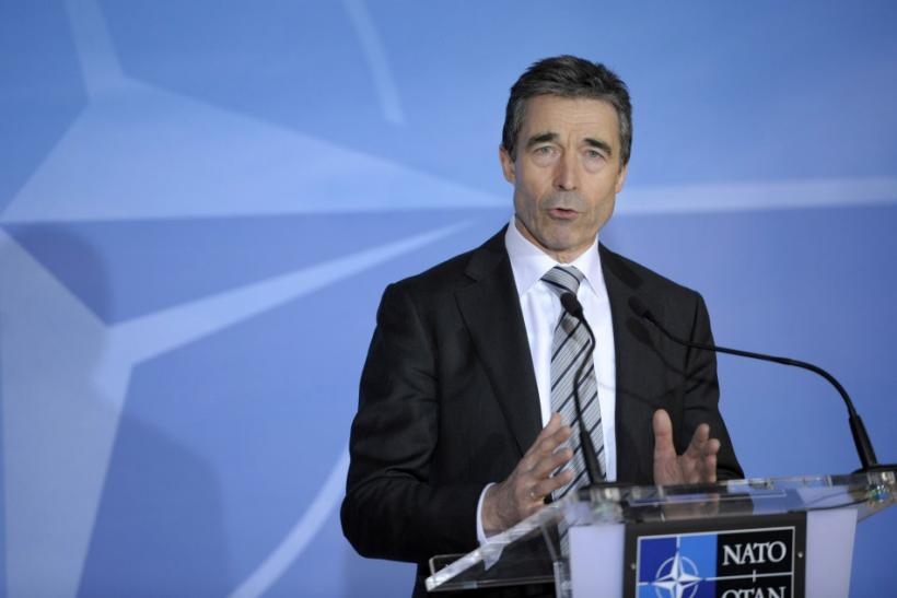 NATO Secretary General Rasmussen addresses a news conference on Libya at the Alliance headquarters in Brussels