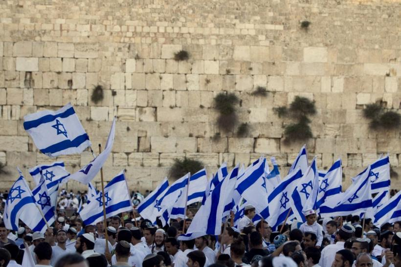 Israelis wave national flags