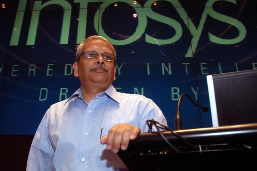 Gopalakrishnan, chief executive of Infosys Technologies, speaks during the announcement of company's quarterly financial results in Bangalore