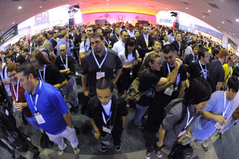 Attendees wait for the show floor to open at the E3 Media & Business Summit in Los Angeles