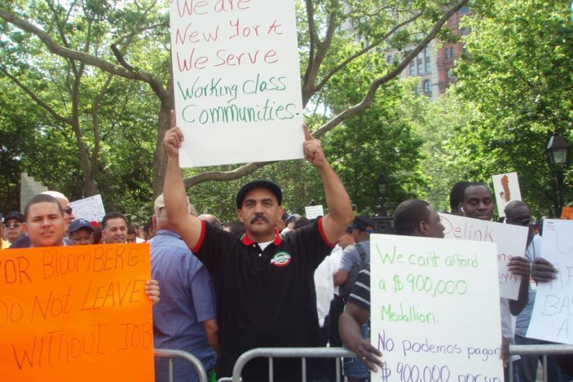 Livery drivers protest against Bloomberg, across City Hall, June 6, 2011