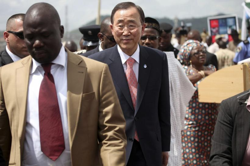 U.N Secretary General Ban Ki-moon arrives for the unveiling of a primary health care clinic in Dutse Makaranta village, outskirt of Nigeria's capital Abuja