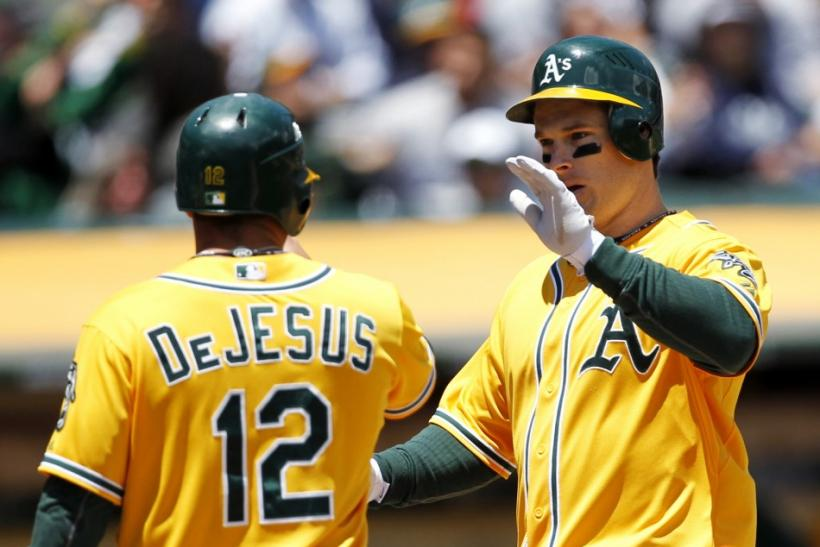 Oakland Athletics' Willingham and DeJesus celebrate after a two-run home run during their MLB baseball game against New York Yankees in Oakland