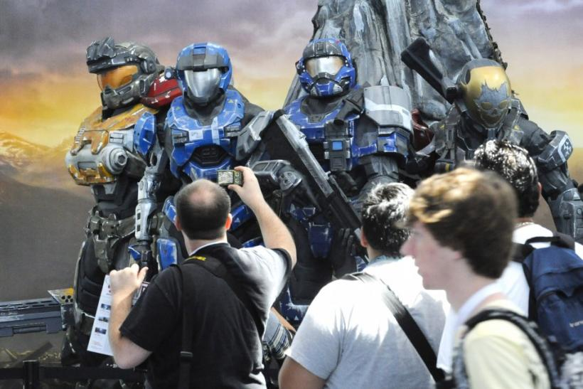 Crowds walk past the Halo Reach display at the Los Angeles Convention Center Electronic Entertainment Expo (E3) in LA