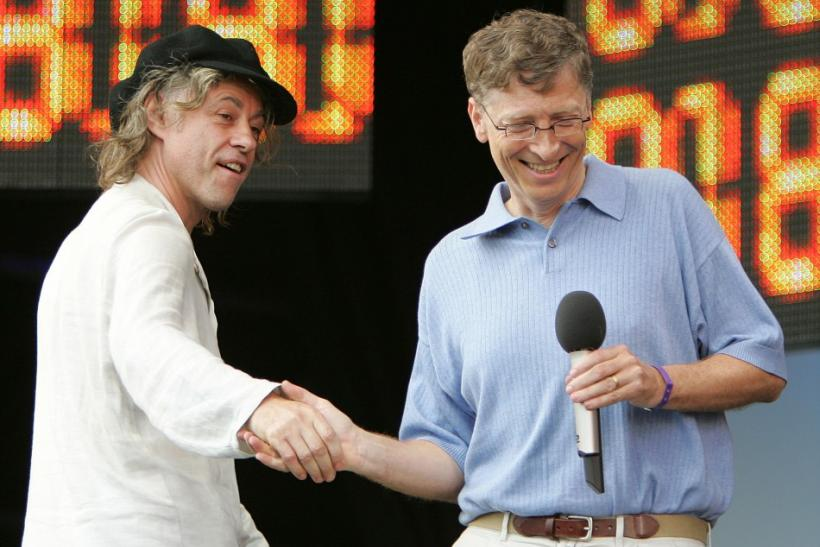 Ireland's Sir Bob Geldof shakes hands with Microsoft chairman Bill Gates of the U.S. at the Live 8 concert in Hyde Park in London