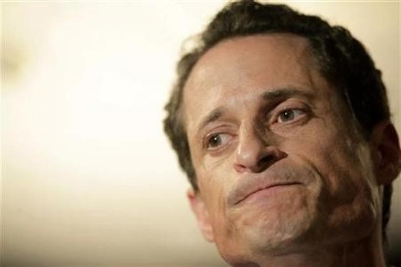 Congressman Anthony Weiner (D-NY) reacts as he speaks to the press in New York, June 6, 2011.
