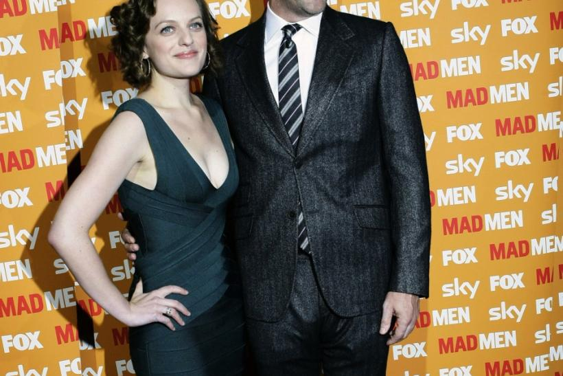 "Actress Moss and actor Hamm from the drama series ""Mad Men"""