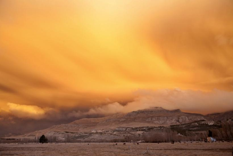 Spectacular view of ash cloud from Chilean Volcano near sunset
