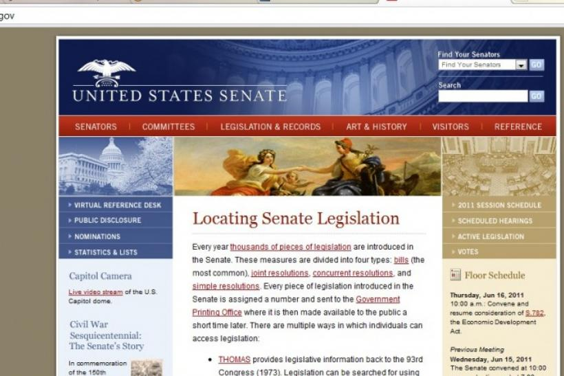 A screenshot of U.S. Senate homepage