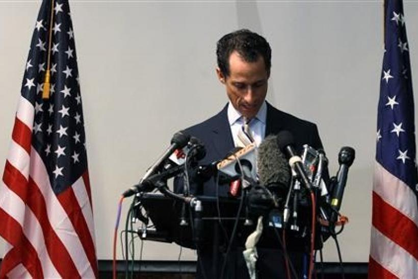 Rep. Anthony Weiner announces that he will resign from the United States House of Representatives during a news conference in Brooklyn, June 16, 2011.