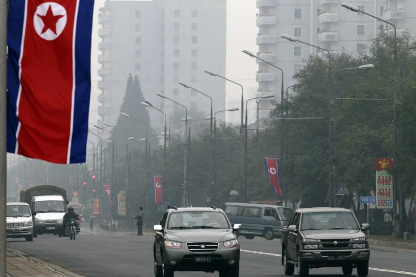 Cars are seen on a street in the North Korean capital of Pyongyang