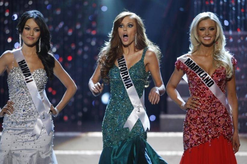 Miss California Campanella reacts as she is chosen as the last of the final four finalists during the 2011 Miss USA pageant in Las Vegas