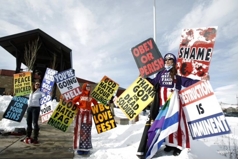 "Members from the Westboro Baptist Church protest the upcoming premiere of ""Red State"" during the Sundance Film Festival in Park City"