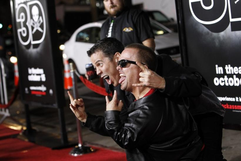 """Cast members Jason Acuna (front) and Steve-O gesture at the premiere of """"Jackass 3D"""" at Grauman's Chinese theatre in Hollywood, California October 13, 2010."""