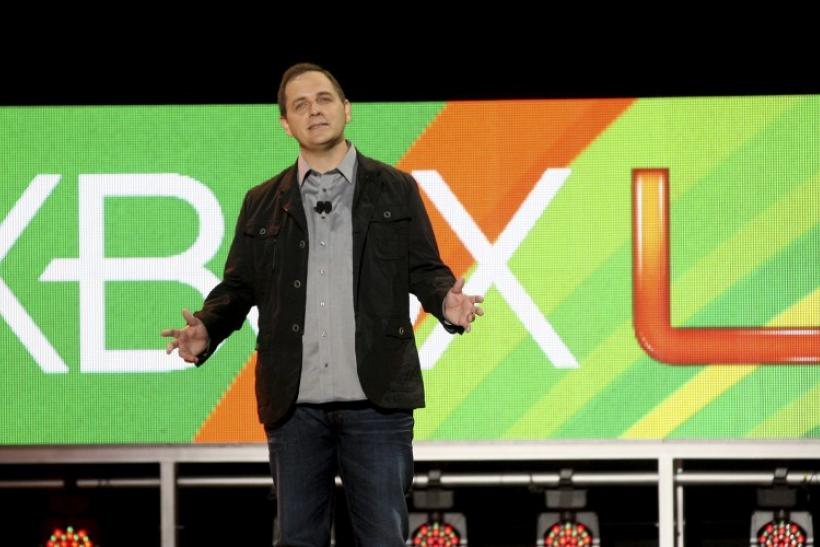 Marc Whitten, Microsoft corporate vice president for Xbox LIVE speaks at Microsoft speaks at the Microsoft E3 XBOX 360 press briefing in Los Angeles
