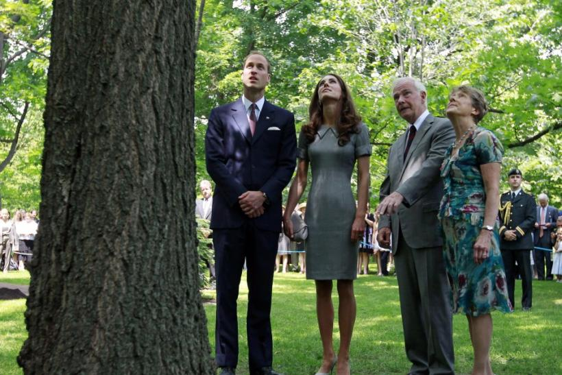 Britain's Prince William and his wife Catherine, Duchess of Cambridge, look at a tree planted by Britain's Prince Charles and the late Princess Diana at Rideau Hall in Ottawa