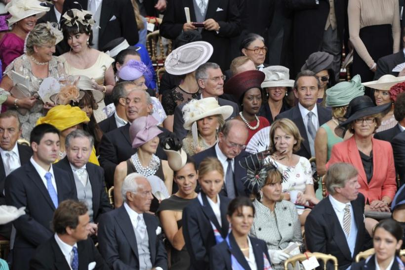 Guests wait for the start of the religious wedding ceremony of Monaco's Prince Albert II and Princess Charlene in Monaco