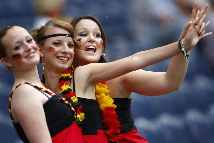 Supporters of Germany cheering their team
