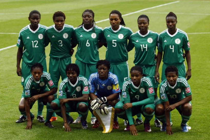 Nigerian team pose for a picture before their match against Germany