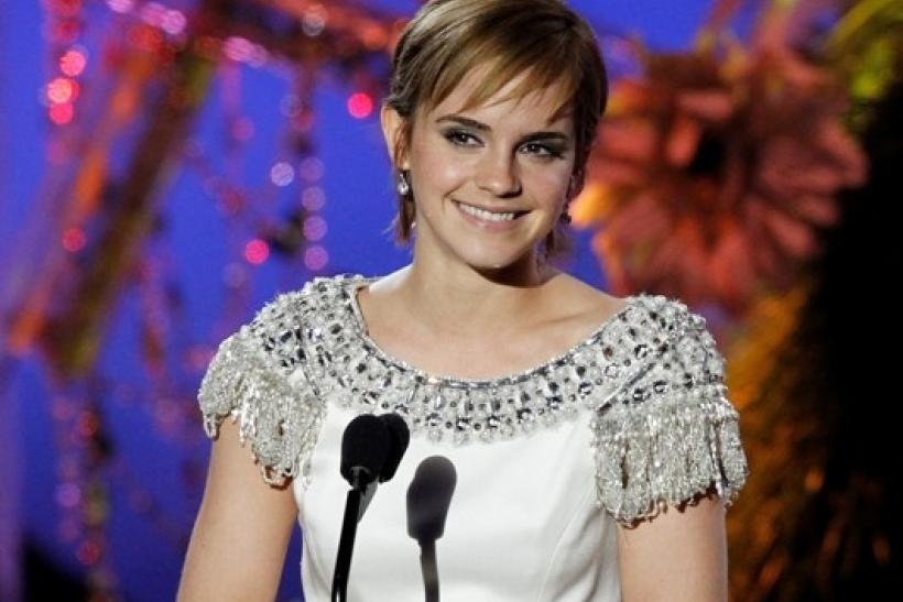 "British actress Emma Watson introduces a clip from ""Harry Potter and the Deathly Hallows Part 2"" at the 2011 MTV Movie Awards in Los Angeles"