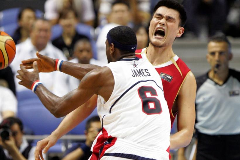 China's Yao Ming reacts during their game against Slovenia in the first round of the world basketball championships in S