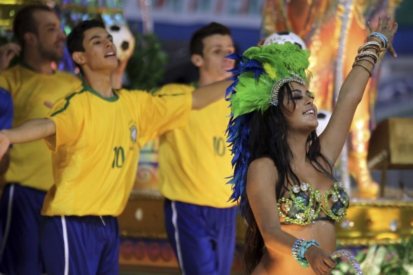 Paraguayan model Larissa Riquelme parades during carnival in Sao Paulo