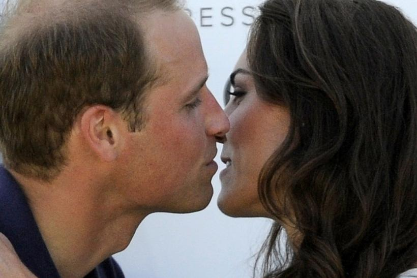 Catherine, Duchess of Cambridge, receives a kiss from her husband after a charity polo match in Santa Barbara