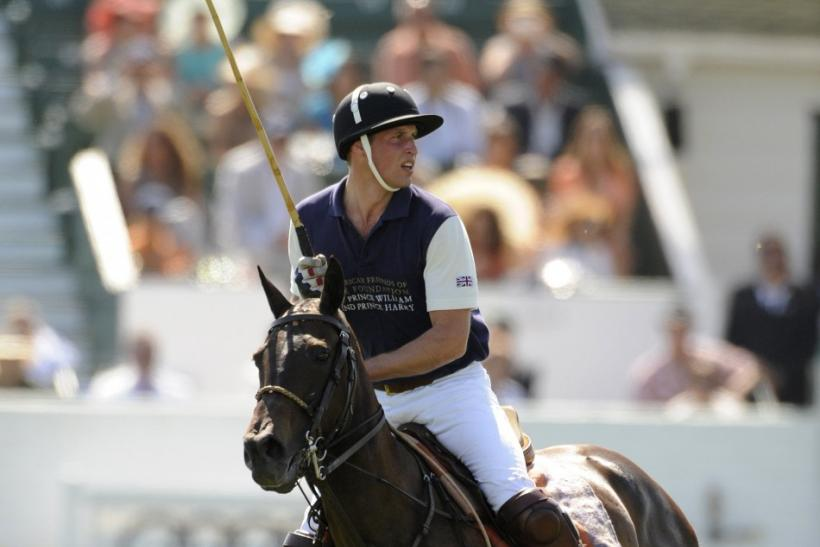 Britain's Prince William plays in a polo match at the Santa Barbara Polo and Racquet Club