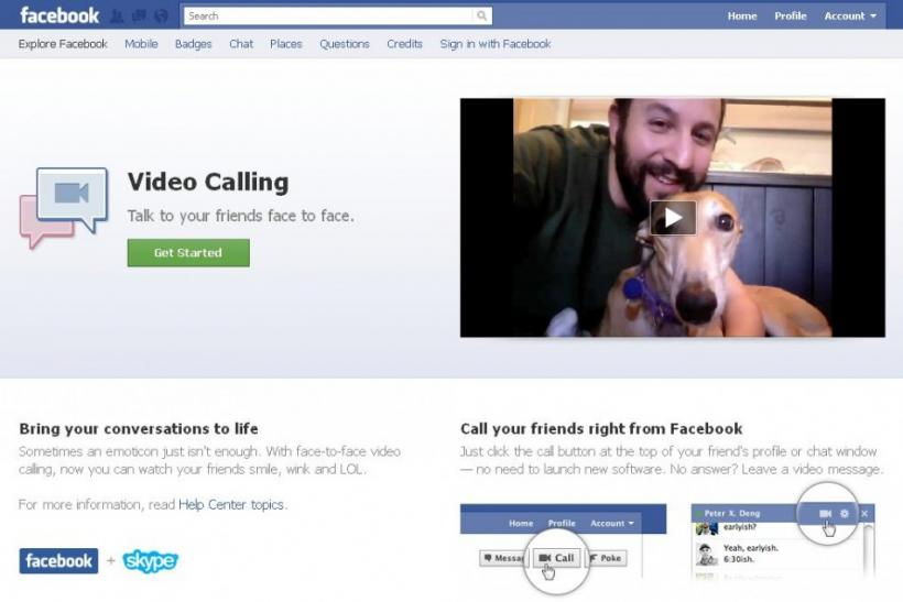 A screenshot shows a webpage for Facebook's new video calling service.
